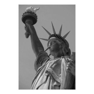 Black & White Statue of Liberty New York City Poster