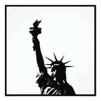 Black & White Statue of Liberty Silhouette Invites