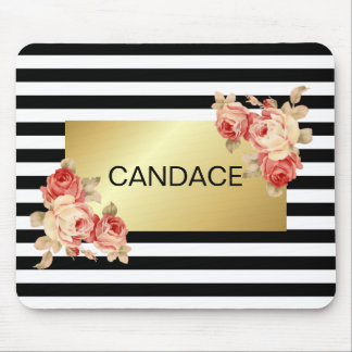 Black & White Stripe and Gold With Vintage Roses Mouse Pad