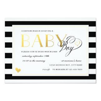 Black & White Stripe Baby Boy Shower Gold Accents 13 Cm X 18 Cm Invitation Card