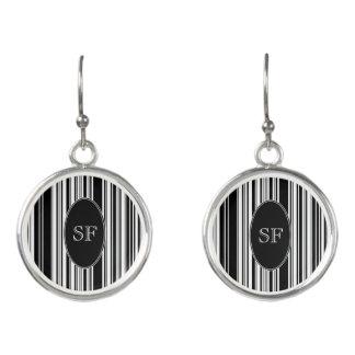 Black White Stripe Barcode Monogram Earrings