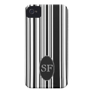 Black White Stripe Barcode Monogram iPhone 4 Case-Mate Cases