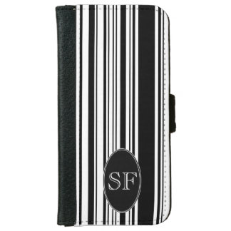 Black White Stripe Barcode Monogram iPhone 6 Wallet Case