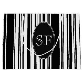 Black White Stripe Barcode Monogram Large Gift Bag