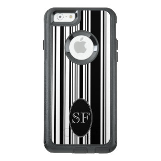 Black White Stripe Barcode Monogram OtterBox iPhone 6/6s Case