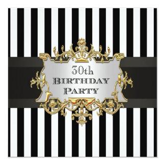 Black White Stripe Birthday Party Invit 13 Cm X 13 Cm Square Invitation Card