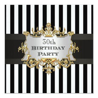 Black White Stripe Birthday Party Invit Card