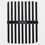 Black White Stripe Black Name Monogram Buggy Blanket