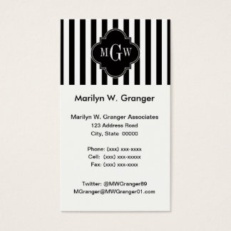Black White Stripe Black Quatrefoil 3 Monogram Business Card