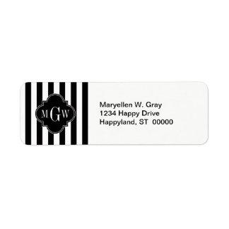 Black White Stripe Black Quatrefoil 3 Monogram Return Address Label