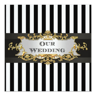 Black White Stripe Black Ribbon Wedding Invite