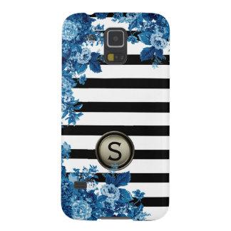Black White Stripe Blue Floral Motif Monogram Case For Galaxy S5