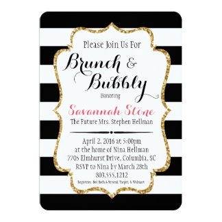 Black & White Stripe Brunch & Bubbly Shower Invite
