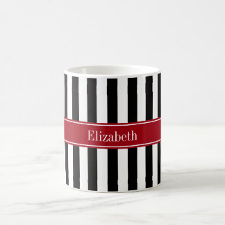 Black White Stripe Cranberry Name Monogram Basic White Mug