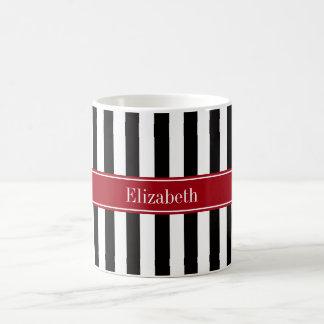 Black White Stripe Cranberry Name Monogram Basic White Mug