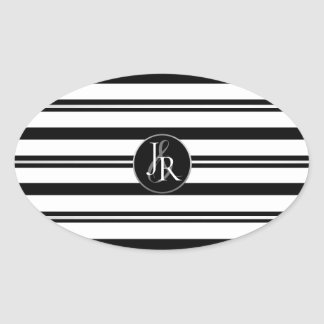 Black & White Stripe Crystal Monogram Oval Sticker