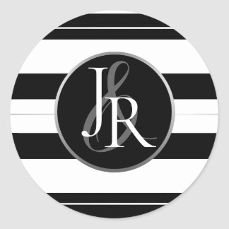 Black & White Stripe Crystal Optional Monogram Classic Round Sticker