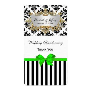 Black White Stripe Damask Lime Party Wine Label Shipping Label