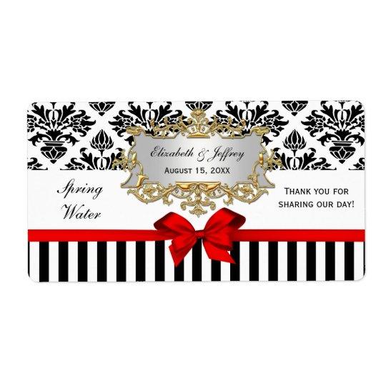Black White Stripe Damask Red Water Label Shipping Label