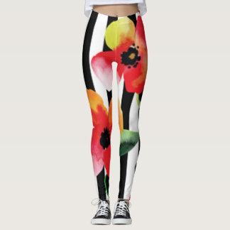Black White Stripe Flowers Pattern Print Design Leggings