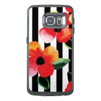 Black White Stripe Flowers Pattern Print OtterBox Samsung Galaxy S6 Edge Case