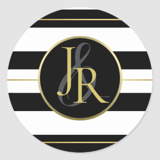 Black & White Stripe Gold Optional Monogram Classic Round Sticker