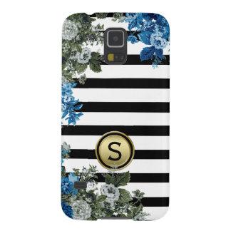 Black White Stripe Green Blue Floral Monogram Case For Galaxy S5