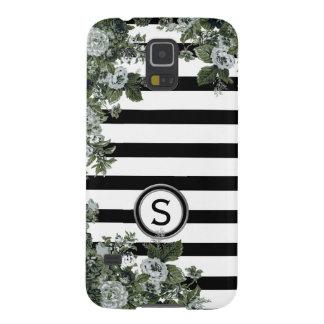 Black White Stripe Green Floral Motif Monogram Galaxy S5 Covers