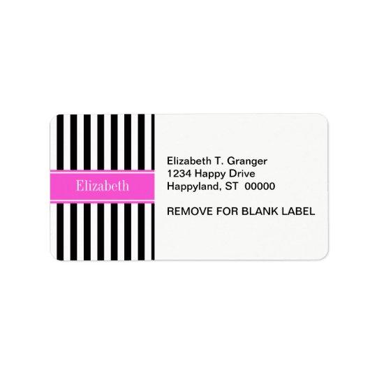 Black White Stripe Hot Pink Ribbon Name Monogram Address Label