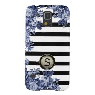 Black White Stripe Indigo Floral Motif Monogram Case For Galaxy S5