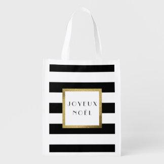 "Black & White Stripe ""Joyeux Noël"" Xmas Holiday Reusable Grocery Bag"