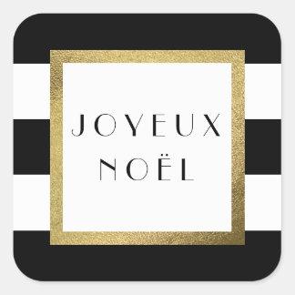 "Black & White Stripe ""Joyeux Noël"" Xmas Holiday Square Sticker"