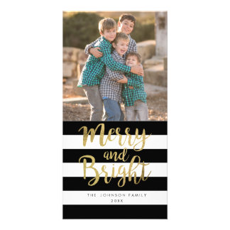 "Black & White Stripe ""Merry & Bright"" Xmas Photo Photo Card"