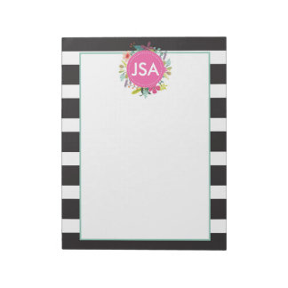 Black White Stripe Monogram Large Notepad