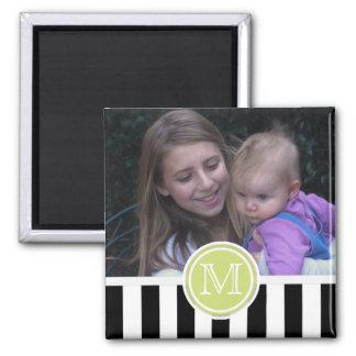 Black & White Stripe : Monogram Photo Magnet