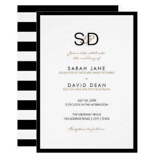 Black & White Stripe Monogram Wedding Invitations