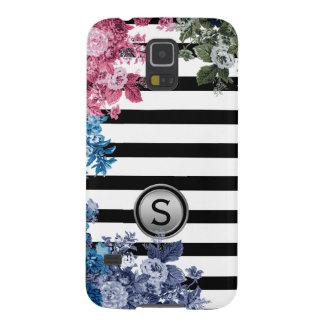Black White Stripe Multi Colour Floral Monogram Galaxy S5 Covers