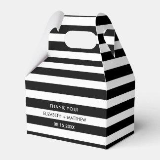 Black White Stripe Pattern Wedding Favour Boxes