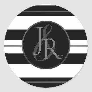 Black & White Stripe Pewter Optional Monogram Classic Round Sticker