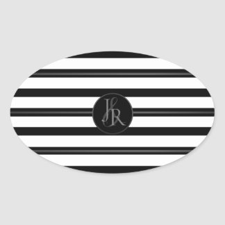 Black White Stripe Pewter Optional Monogram Oval Sticker