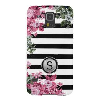 Black White Stripe Pink Green Floral Monogram Galaxy S5 Case