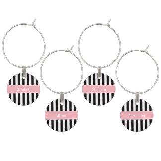 Black White Stripe Pink Name Monogram Wine Glass Charms