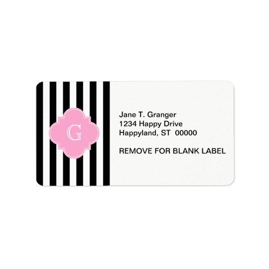 Black White Stripe, Pink Quatrefoil Monogram Address Label