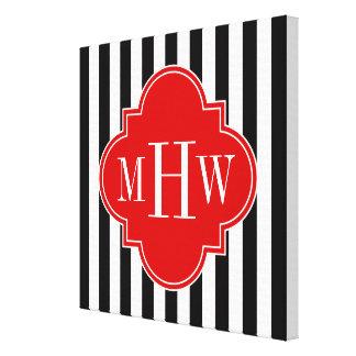 Black White Stripe Red Quatrefoil 3 Monogram Canvas Prints