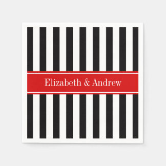 Black White Stripe Red Ribbon Name Monogram Disposable Serviette