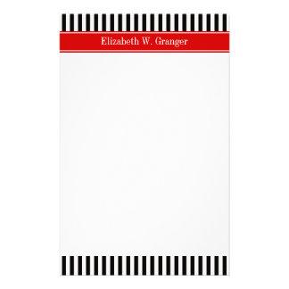 Black White Stripe Red Ribbon Name Monogram Stationery