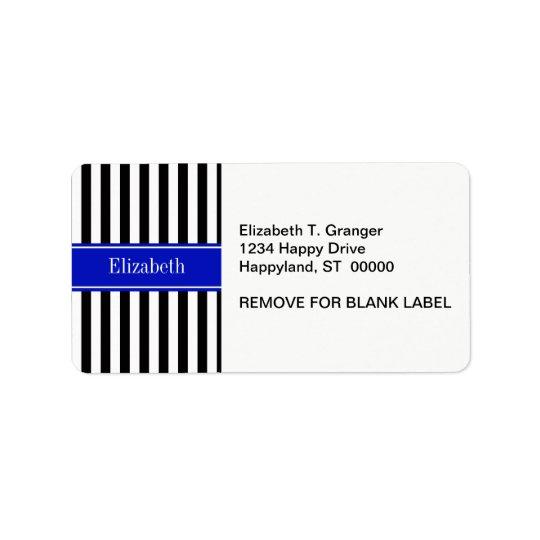 Black White Stripe Royal Blue Ribbon Name Monogram Label