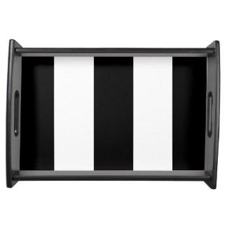 Black White Stripe Serving Tray