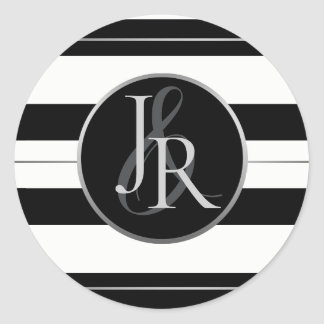 Black & White Stripe Silver Optional Monogram Classic Round Sticker