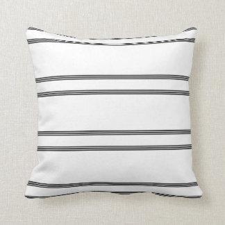 Black, white stripe throw pillow. cushion
